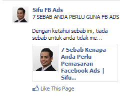 Jenis iklan page post ads - Url