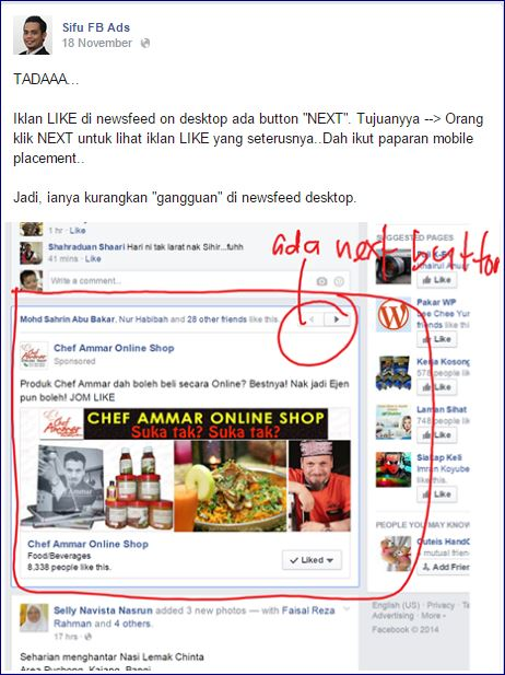 post facebook ringkas padat