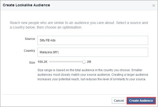 lookalike audience, create audience button