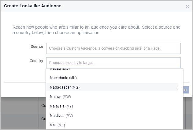 lookalike audience, pilih country