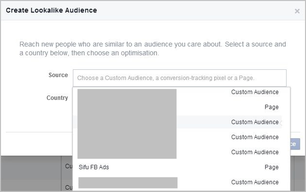 lookalike audience, pilih source